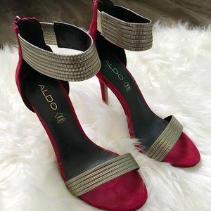 ALDO Red/Gold Heeled Sandals